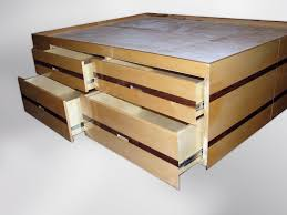 Beech Bed Frame Cube Beech Bed With Drawers Inlay Custom Wood Extras