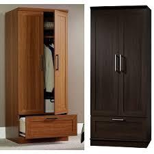 sauder homeplus wardrobe storage cabinet wardrobe armoire sienna or dark oak bachelor on a budget
