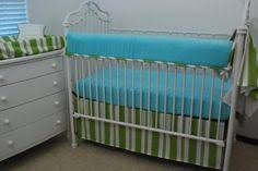 aqua stencil crib rail guard with coral cotton crib bedding no