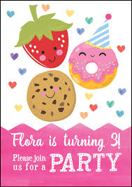 cute kawaii donut cookie u0026 strawberry party invitation from 0 80