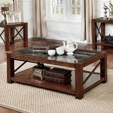 transitional style coffee table benzara rani cayman brown cherry finish wood marble transitional