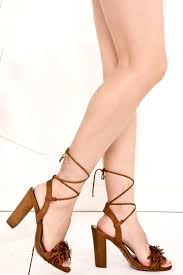 tan ankle tie lace up sandal chunky heels women u0027s heels heels
