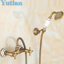 Brass Shower Faucets Bathroom Bath Wall Mounted Hand Held Antique Brass Shower Head Kit
