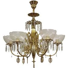 Midwest Chandelier Company Antique Ornate Gas Chandelier 6 Lights W Etched Shades