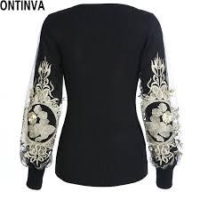 black sweater womens embroidery golden pullover 2017 autumn lantern sleeve