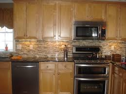 Backsplash Glass Tile Brown With Brown Cabinets  Backsplash - Layered stone backsplash