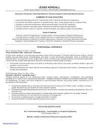 e resume exles sle resume for electronics technician inspirational e resume