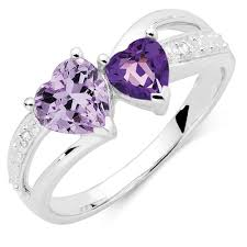 amethyst heart rings images Ring with amethyst diamonds in sterling silver michael hill jpg