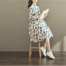 online shop mori autumn spring women corduroy dress turn down