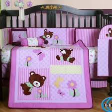 Pink Camo Crib Bedding Set by Bedroom Cute Purple Crib Bedding Set With Brown Bear Motif The
