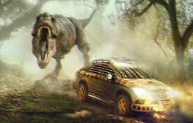 jurassic park car trex mercedes gle coupe rendered as rugged dinosaur survival machine