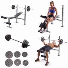 weight bench press home gym workout set u0026 100lbs plates fitness