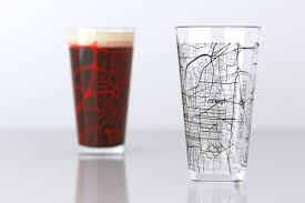 Nc State Campus Map Raleigh Nc Nc State Univ College Town Map Pint Glass Set