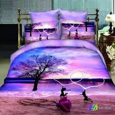 rose beach love heart light purple design bedding set queen king