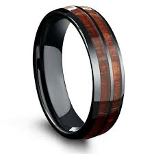 mens wedding rings 6mm barrel ceramic koa wood ring northernroyal