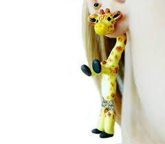 giraffe earrings giraffe earrings two part earrings animal ear jacket faux