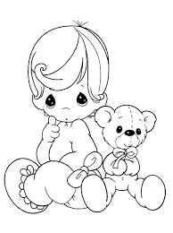 baby precious moments with her teddy bear coloring page coloring sun