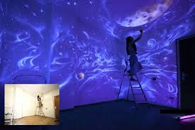 painting ideas glowing wall painting ideas bringing futuristic space themes into