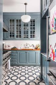 blue kitchen cabinets with wood countertops blue cabinets with stained wood countertops transitional