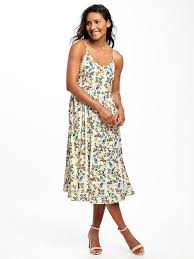 fit and flare cami midi dress in floral old navy fashion loves