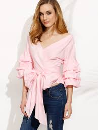 bow tie blouse pink pleated bell sleeve bow tie waist blouse emmacloth fast