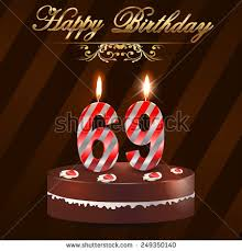 69th birthday card 69 year happy birthday card cake stock vector 249350140