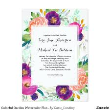 Shop Invitation Card Colorful Garden Watercolor Floral Wedding Pink Wedding