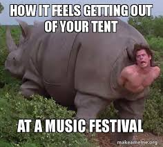 Music Festival Meme - how it feels getting out of your tent at a music festival make a meme