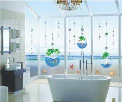 crystal fish tank bead curtain bathroom glass window stickers home