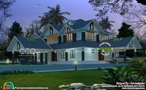 sloping roof 4 bhk luxurious house plan kerala home design and