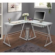 walker edison urban blend computer desk this contemporary desk offers a sleek modern design crafted from