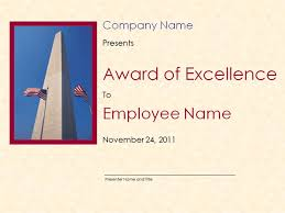 excellence award certificate template with washington monument