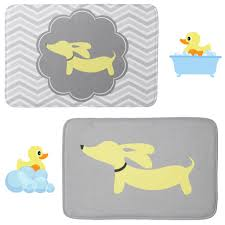Yellow Bathroom Rugs Wiener Dog Bathroom Bath Mats Yellow And Gray U2013 The Smoothe Store