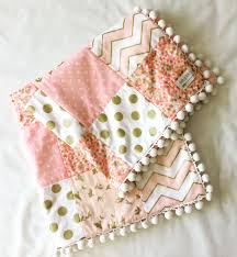 Pink And Gold Nursery Bedding Baby Blanket Baby Quilt Pink White Gold Quilt Minky Star