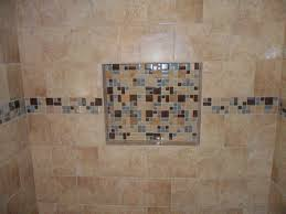 porcelain tile shower with glass and slate borders and niche new