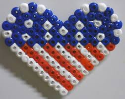 American Flag Magnet Choose From A Heart Shaped Flag Fused Bead Keychain Or Magnet