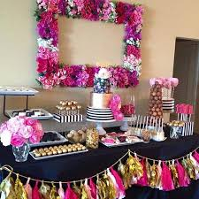 Pink And Black Candy Buffet by Best 25 Pink Dessert Tables Ideas On Pinterest Pink Round