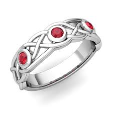 Ruby Wedding Rings by Celtic Knot Ruby Wedding Ring Band In 18k Gold My Love Wedding Ring