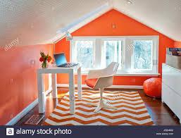 Herringbone Area Rug Attic Home Office Orange Walls Wallpaper On Ceiling Orange