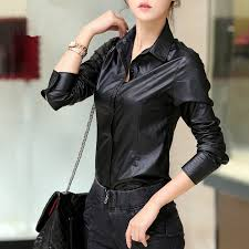leather blouse pu leather black tops leather shirt fashion casual autumn
