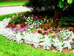garden ideas photos garden ideas flowerbed of colorful flowers against wall with