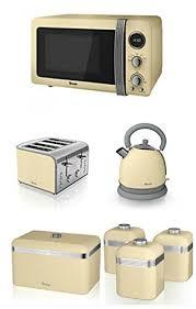 Cream Breville Toaster Swan Kitchen Appliance Retro Set Cream Microwave 1 8l Dome