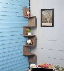 wall shelves pepperfry buy driftingwood antique oak mdf zigzag shape 3 tier corner wall