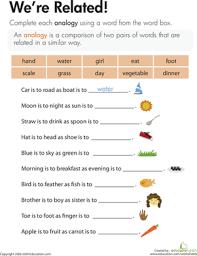 analogies worksheet we u0027re related comprehension worksheets