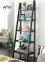 decorating a bookshelf 5 tier leaning shelf living room pinterest leaning shelves