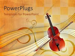 powerpoint template music depiction with violin bow and music