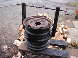 diy wood stove made from car wheels easy welding project bacon