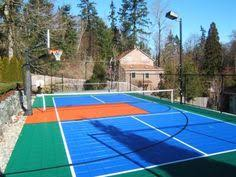 Backyard Sports Court by Outdoor Pickleball Court For Family Fun With A Basketball Goal