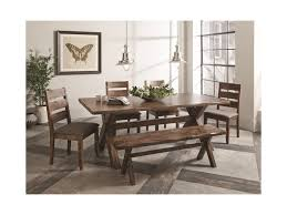 coaster alston rustic dining set with bench miskelly furniture