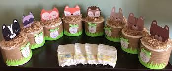 fox diaper cake centerpiece woodland animals baby shower